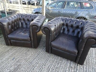Vintage Pair of Chesterfield Club Chairs Dark Brown Leather