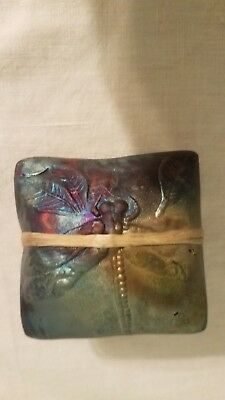 Small Blown Iridescent Glass Box w/ Dragonfly, wrapped w/ beads, rattles EUC