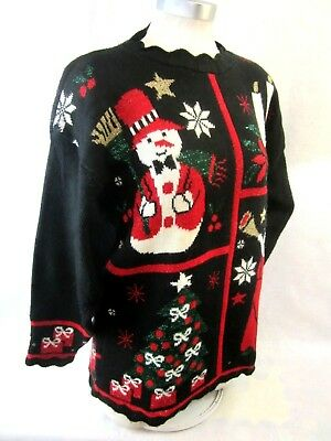 Nwt Womens Ugly Christmas Sweater With Snowman Charlie Brown Tree