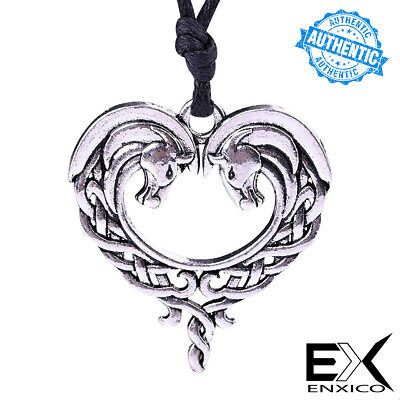 ENXICO Celtic Knot Horse Couple Heart Shape Amulet Pendant Necklace