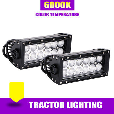 2x 7IN 36W Front Led Work Light Bar Flood Driving Fog Offroad Jeep Truck A7 SUV