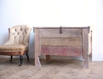 Vintage Antique Romanian Wooden Folky Chest Trunk Coffer