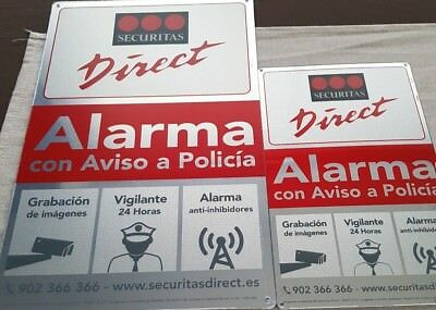 Placa alarma disuasoria grande + mediana securitas Direct. Modelo 2017