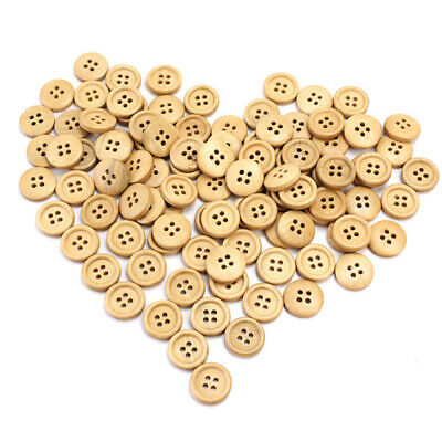 100pcs 15mm Round Yellow Wooden Wood Buttons Sewing Scrapbooking Craft 4 Holes