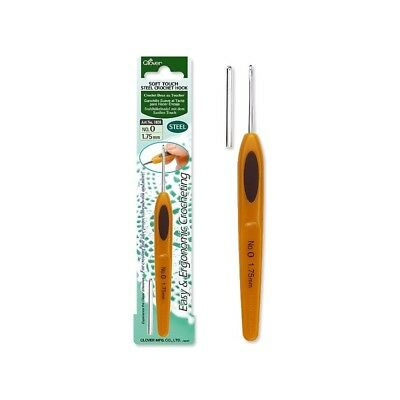 Clover Soft Touch Steel Ergonomic Crochet Hook Sizes 0.50 - 1.75mm