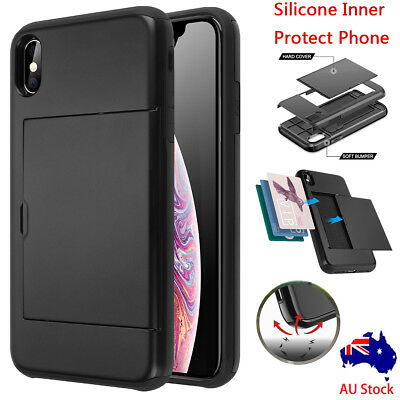 Apple iPhone XS Max XR XS Shockproof Wallet Credit Card Holder Hard Case Cover