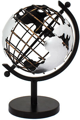 "BRUBAKER Art-Deco Globe Metal in Vintage Optics 8.7""  Black Silver Sculpture"