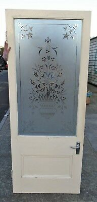 Antique Etched Glass Door    Delivery Available