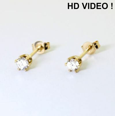 0.22 ct H / SI  Round Cut Earth Mined Diamond Pair Stud Earrings 14K Solid Gold