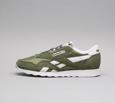 Mens Reebok Classic Nylon Trainers Hunter Green White (SF32) RRP £59.99 ce01c4b95