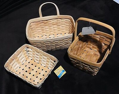 Lot Of 3 Woven Wicker Baskets Wooden Gift Basket Home Trends Chipwood
