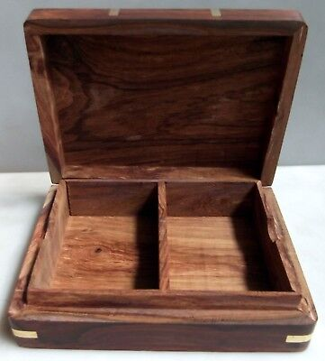 Wooden Playing Card Box Brass Inlay