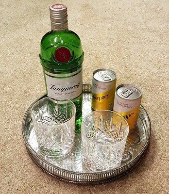"""10"""" vintage round silver plated drinks chased gallery serving tray cocktail"""