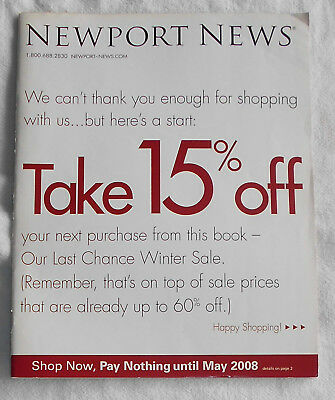 NEWPORT NEWS Catalog/ Last Chance Winter Sale/ 2007/ Cover 1/ Clean Back Cover
