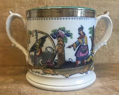 Victorian Antique Large Two Handle Loving Mug Cup with Lustre Decoration