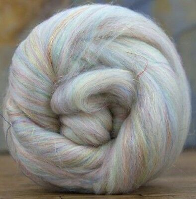 4 Ounces Merino Wool/Nylon Combed Top/Roving - Opal Sparkle