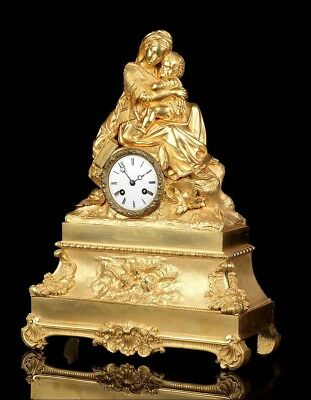 """Antique Ormolu Mantel Clock. """"The Madonna of the Chair"""". France, 1870"""