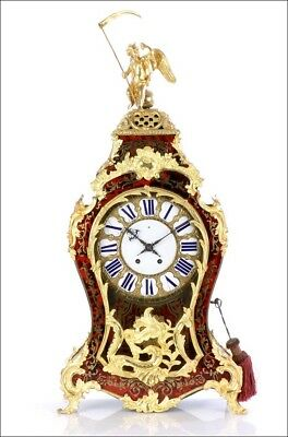 Extraordinary Large Antique Boulle Mantel Clock. France, 1870