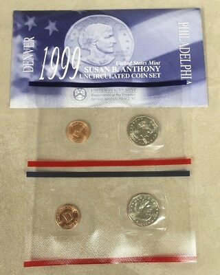 1999 Susan B. Anthony Mint Set 2 Coin Set from Philadelphia and Denver Mints