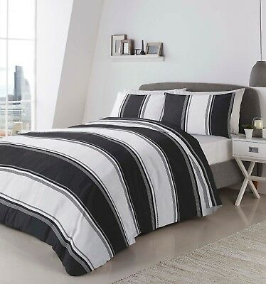 Fusion BETLEY Classic Black and White Wide Stripes Duvet Cover Set