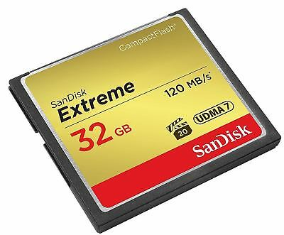 32Gb Sandisk Extreme Compact Flash Card - Fast Speed 120Mb/S Read & 85Mb Write