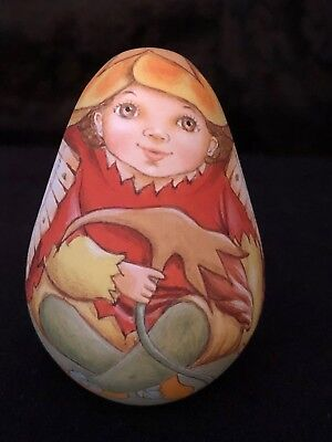 Easter Egg Nasturtium Fairy Hand Painted Wood Russia