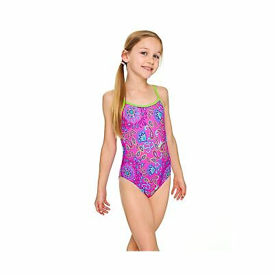 a005219001 Zoggs Girls  Bold Baroque Yaroomba Floral Swimsuit Pink Multi-Colour 8-9