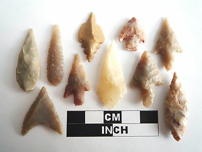 Neolithic Arrowheads x 10, High Quality Selection of Styles - 4000BC - (1080)