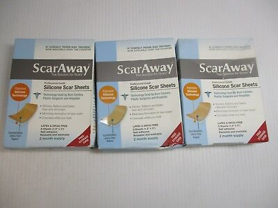 """3 Scaraway Silicone Scar Sheets 8 Ct Each (1.5""""x 3"""")Free Case Exp 11/19+ Jl 8137"""