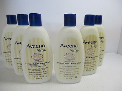 6 Aveeno Baby Soothing Relief Cream & Wash 8 Oz Each - Jl 7152