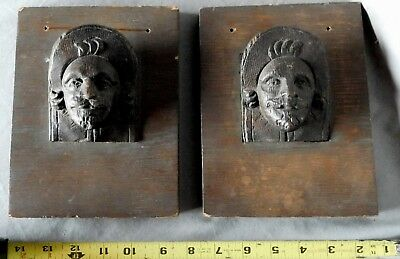 Pair Antique German black forest oak wood carved wall plaques portrait bust