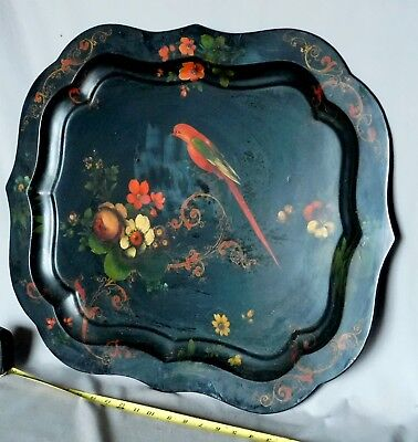 Antique Hand Painted Tole Tray Bird of Paradise Gilt gilded gold Victorian