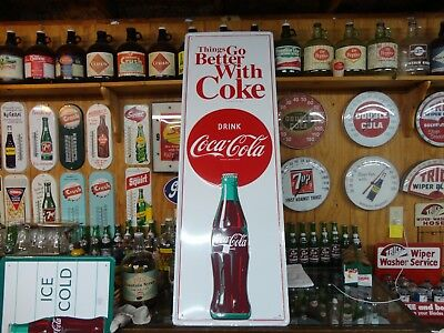 Coca Cola Embossed Soda Sign Licensed Product Made In Usa Heavy Metal Vertical