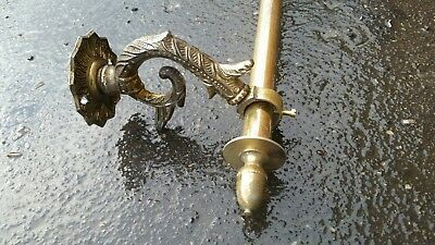 FRENCH ANTIQUE CAST BRASS CURTAIN POLE RAIL OLD VINTAGE ORNATE 1080mm QR