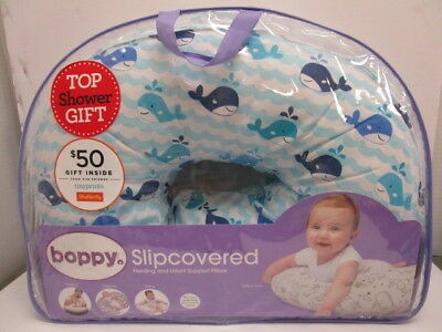 Boppy Slipcovered Feeding & Infant Support Pillow Whale Watch Blue New - Nt 3811