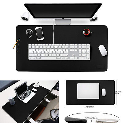 Computer Desk Pad Mouse Keyboard Organizer Comfortable Leather Mats Black Large