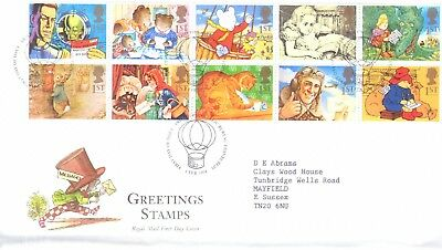 GB 1994 Greetings booklet pane of 10 on First Day Cover, bureau postmark - SALE