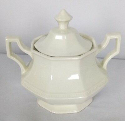 Heritage/Johnson Bros White Octagonal Shaped Sugar Bowl England Stamp With Lid