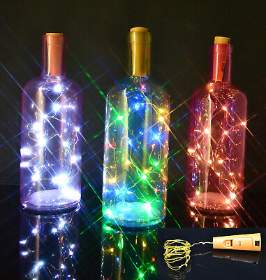 Bottle Stopper Fairy String Lights Wine/Gin Battery Cork Shaped Top 8/20 LEDs