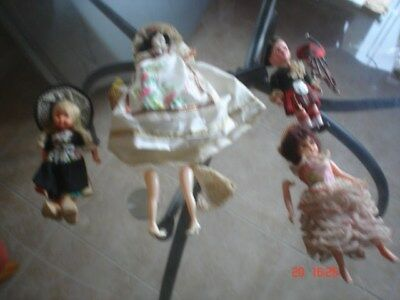 4 Vintage 1950's   Moving Eyes-legs-arms collection of dolls in Costumes