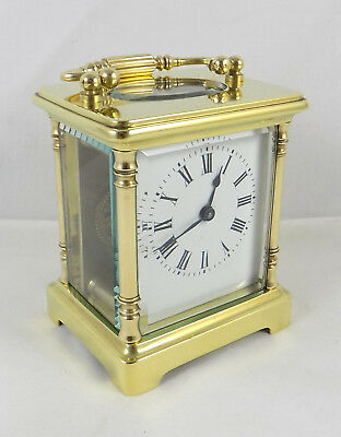 Excellent Brass 8 Day Small French Carriage Clock - Fully Cleaned & Serviced