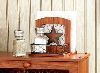 Country Star Salt Pepper Shaker and Napkin Holder Kitchen Table Accessory