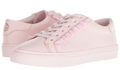 26fdf504c NEW Tory Sport Burch Ruffle Sneaker PALE Cotton Pink Leather Lace Up Shoes  10