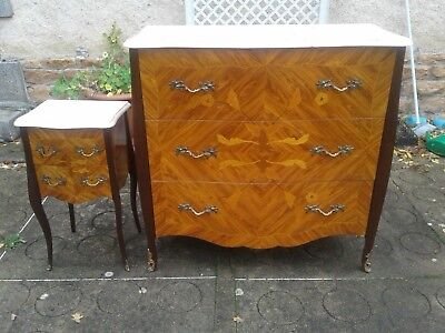 French antique vintage Louis XV style bombe commode and matching night stand, in