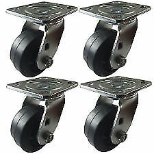 "set of 4 swivel 4"" x 2"" Heavy Duty ""Rubber on Cast Iron"" tool box"