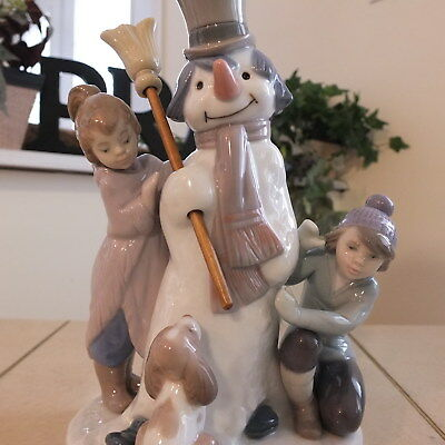 Lladro The Snowman # 5713 Children & Dog Mint Fast Shipping!!!