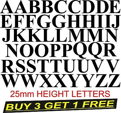 Alphabet stickers decal black 25mm height letters.