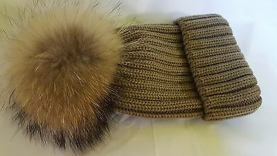634bd365b7a  14.99 Winter Hat With Real Large Raccoon Fur Pom Pom Cap Knit Beanie Hat
