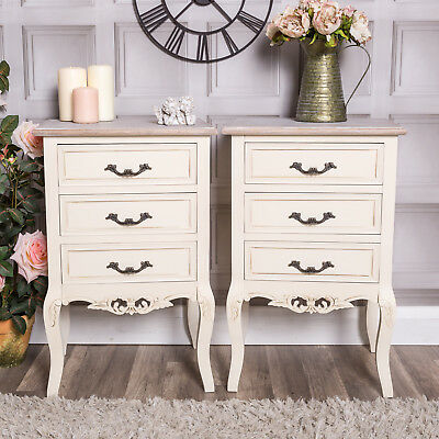 Pair Of Cream Bedside Tables Lamp Shabby Vintage French Chic Bedroom Hallway