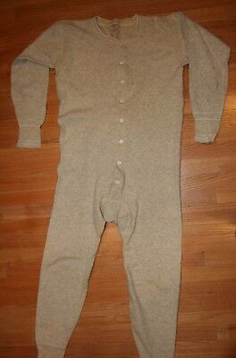 Vintage Wrights 100% Wool Mens Long John Underwear Buttoned Back Flap Thermal